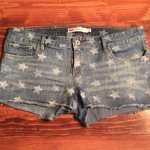 Levi Denim Star Print Shorts